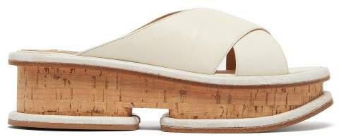 Gryphius Leather Flatform Slides - Womens - Cream