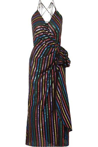 Attico   Metallic striped jacquard wrap dress   NET-A-PORTER.COM