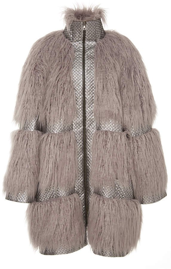 Embossed Trimmed Faux Fur Coat