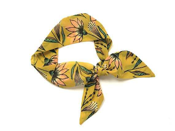 Yellow Floral Short Skinny Scarf Hair Head Wrap Ponytail Tote
