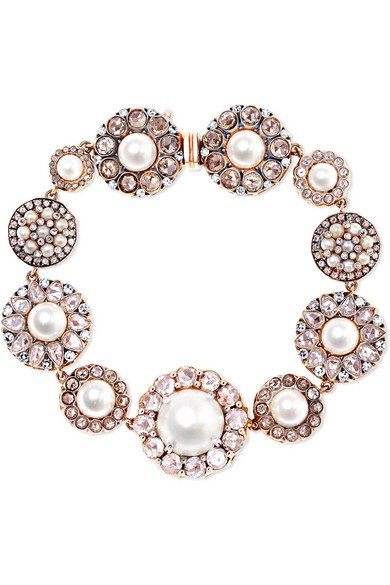 Selim Mouzannar | 18-karat rose gold, pearl and diamond bracelet | NET-A-PORTER.COM