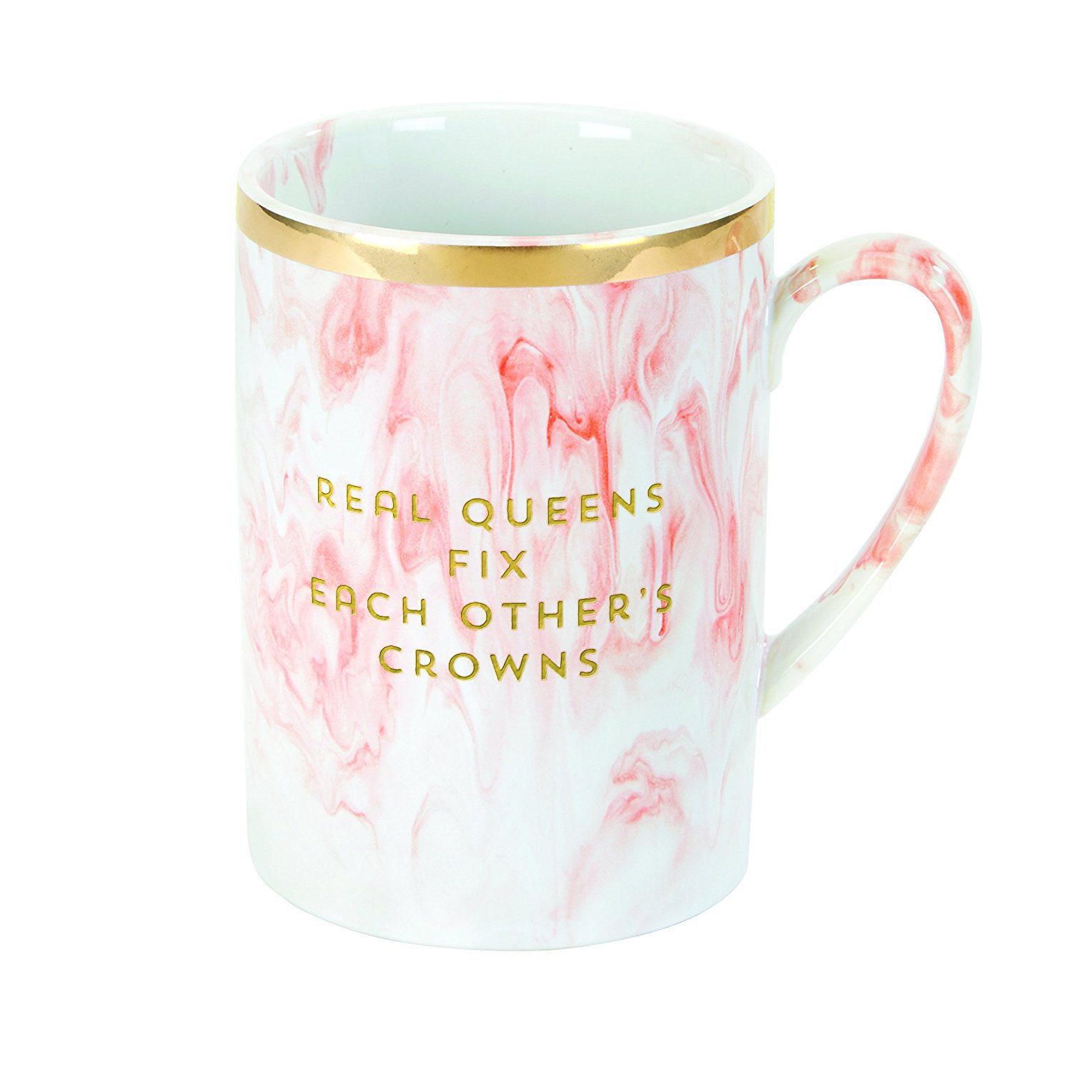 """C.R. Gibson 16 oz Stoneware Marble Coffee Mug, Dishwasher & Microwave Safe, Measures 4.6"""" W x 3.25"""" - Real Queens Fix Each Other's Crowns"""