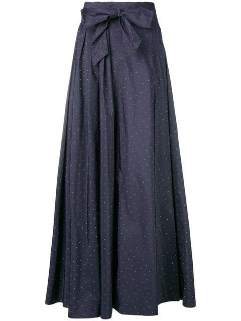 Max Mara Flared Spotted Bow Skirt