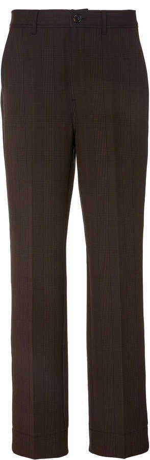 Checked Crepe Straight-Leg Pants