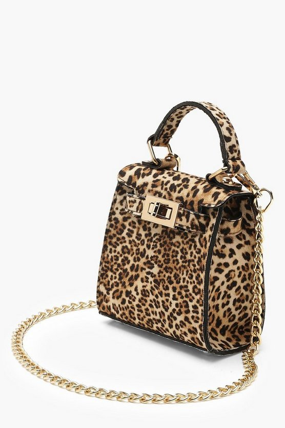 Suedette Leopard Mini Lock Grab Bag | Boohoo
