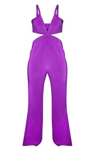 Plus Purple Cut Out Jumpsuit | PrettyLittleThing