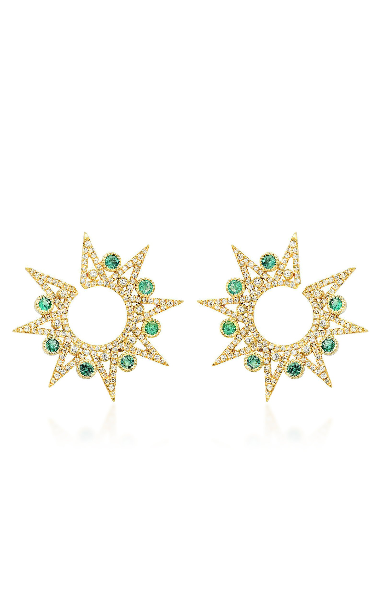Colette Jewelry 18K Gold Diamond And Emerald Earrings