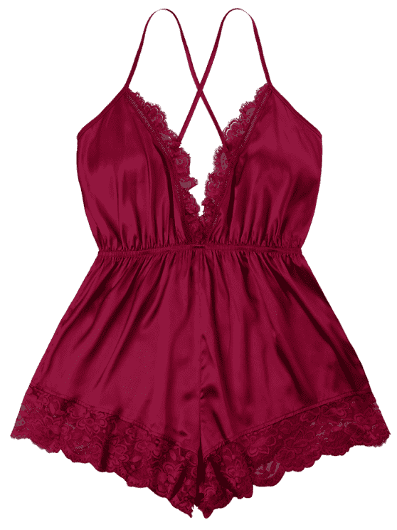 Plunging Open Back Romper WINE RED: Jumpsuits & Rompers M | ZAFUL