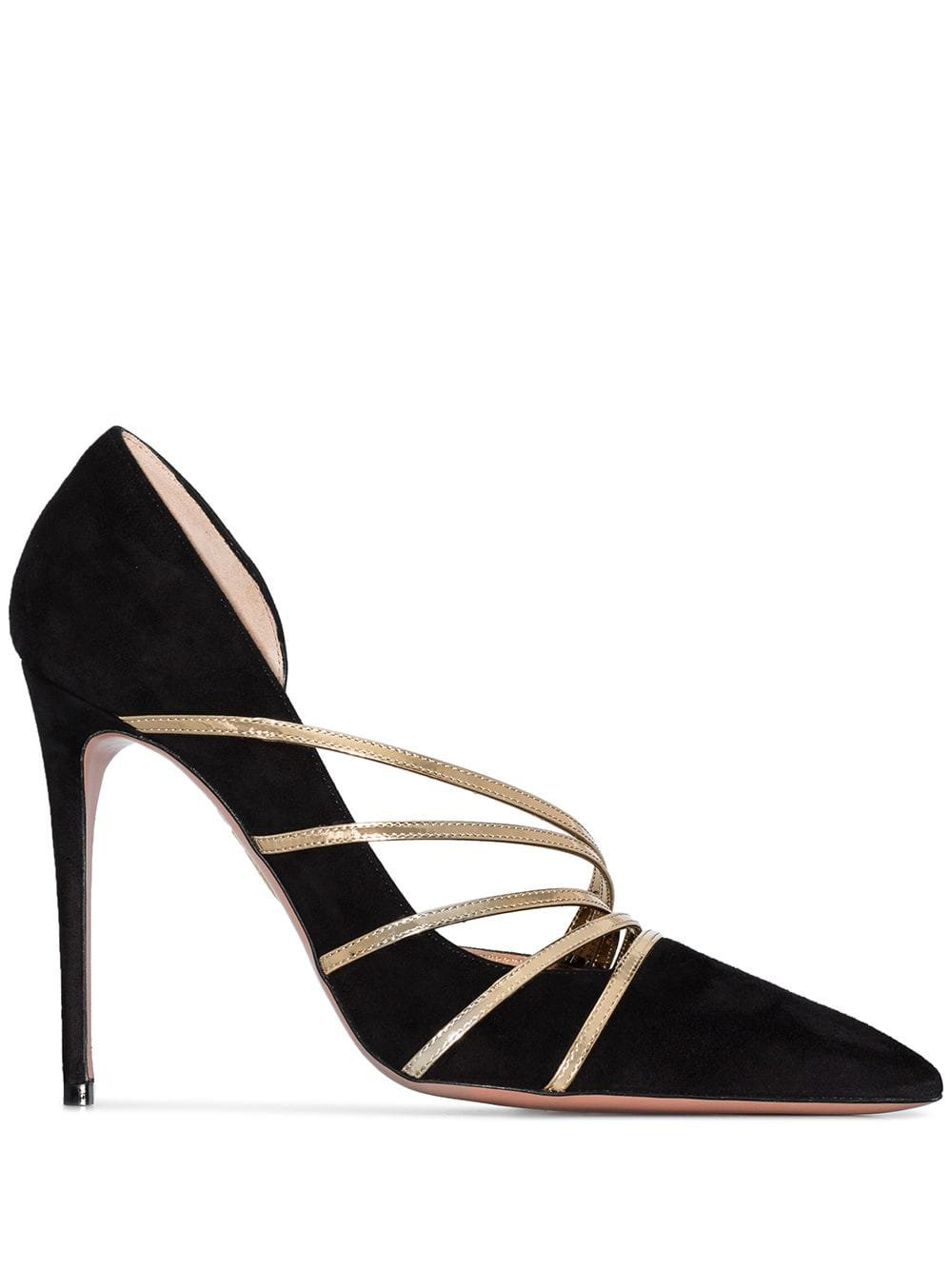 Black Aquazzura Minou Metallic-strap Pumps | Farfetch.com