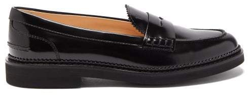 Leather Penny Loafers - Womens - Black