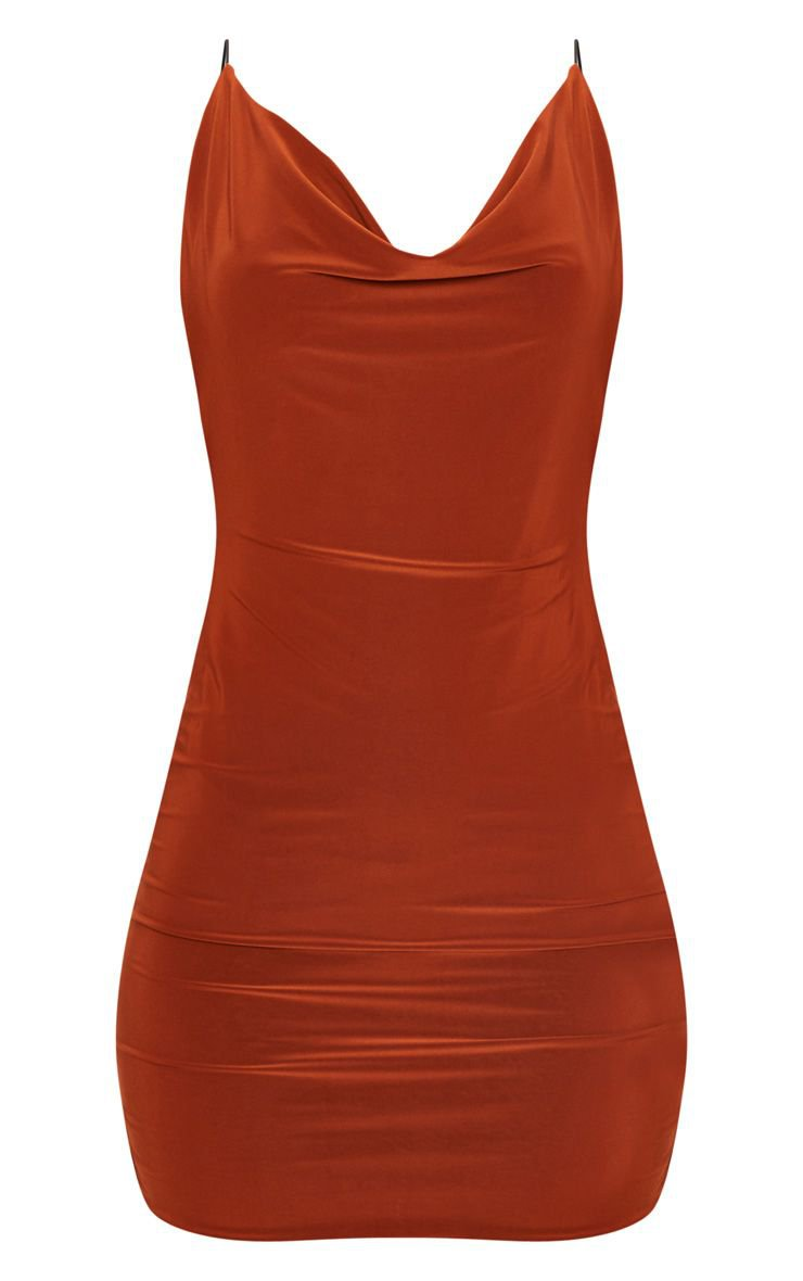 plt rust slinky scoop back dress