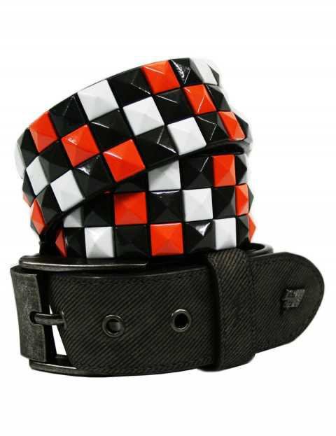 Red and Black Studded Belt