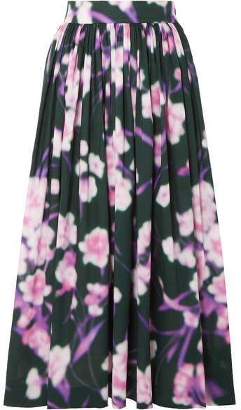 Floral-print Cotton-poplin Midi Skirt - Pink