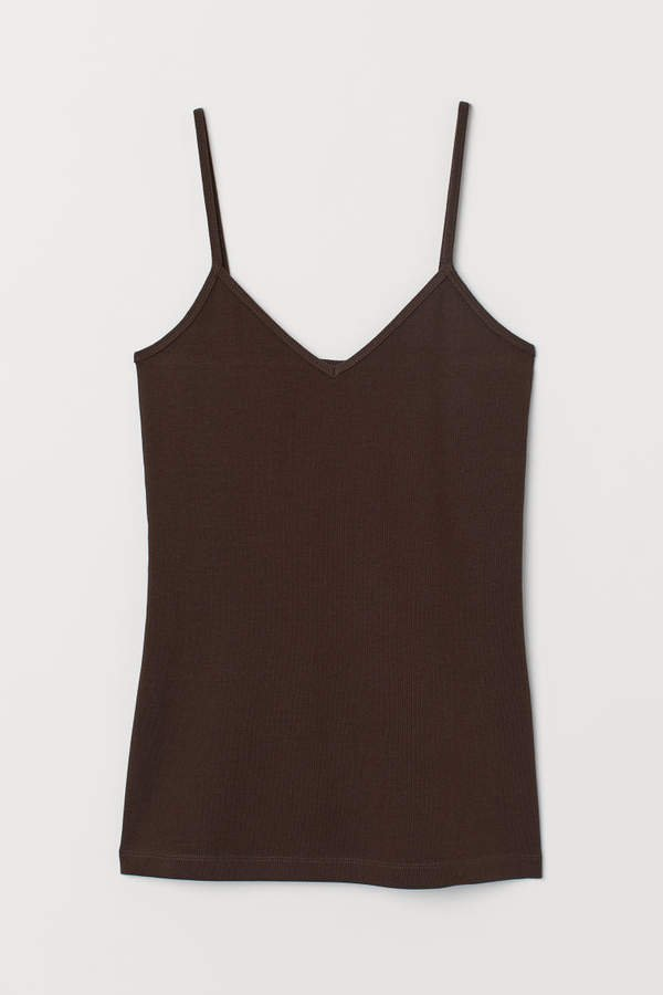 V-neck Camisole Top - Brown