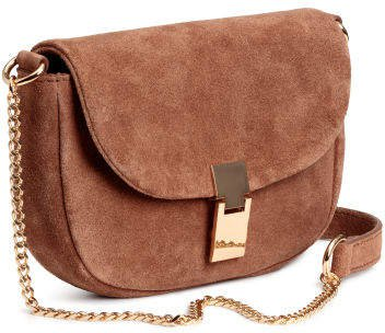 Suede Shoulder Bag - Beige
