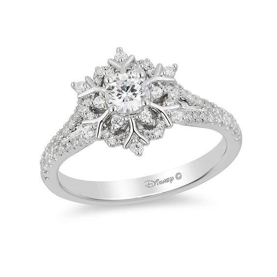 Enchanted Disney Elsa 5/8 CT. T.W. Snowflake Engagement Ring in 14K White Gold | Engagement Rings | Wedding | Zales