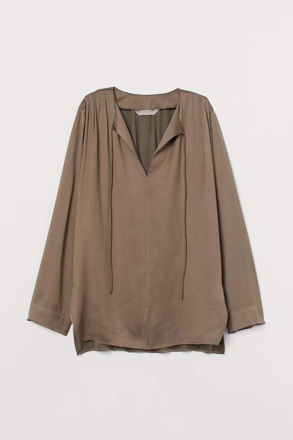 Silk-blend Blouse - Beige
