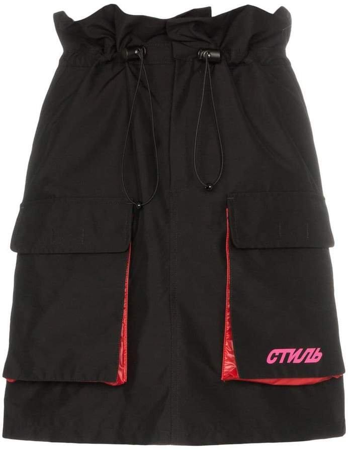 drawstring cargo pocket skirt