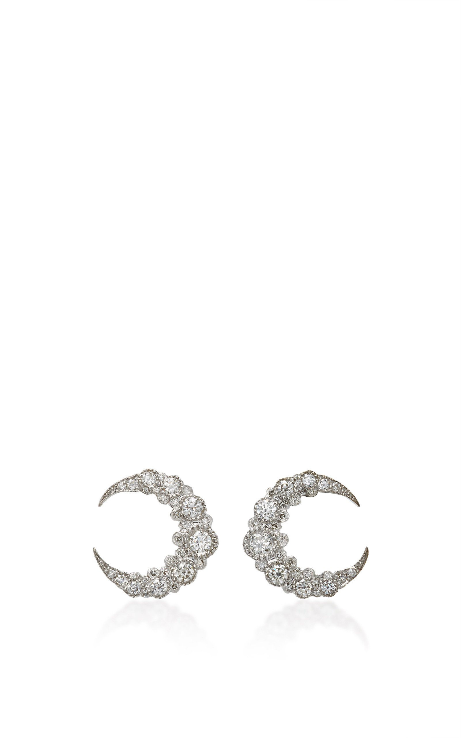 Colette Jewelry Baby Moon 18K White Gold and Diamond Earrings
