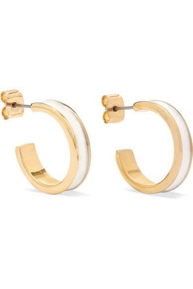 Isabel Marant | Gold-tone and enamel hoop earrings | NET-A-PORTER.COM