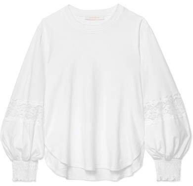 Lace-paneled Cotton-jersey Sweatshirt - White