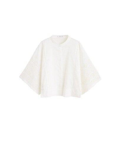 MANGO Embroidered cotton blouse
