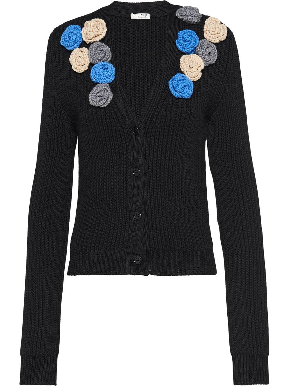 Black Miu Miu Wool Cardigan | Farfetch.com