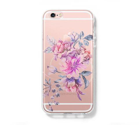 Pastel Pink Floral iPhone 6s 6 Clear Case iPhone 6 plus Cover iPhone 5