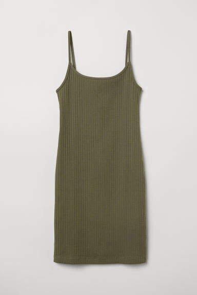 Ribbed Jersey Dress - Green