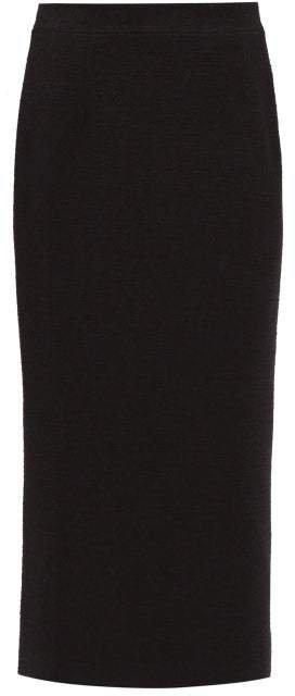 Wool Blend Boucle Pencil Skirt - Womens - Black