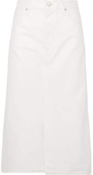 The A Denim Midi Skirt - White