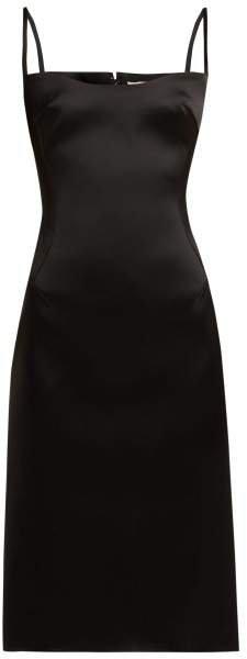 Satin Midi Dress - Womens - Black