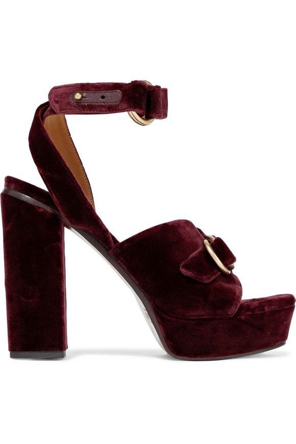 Kingsley buckled velvet platform sandals | CHLOÉ | Sale up to 70% off | THE OUTNET