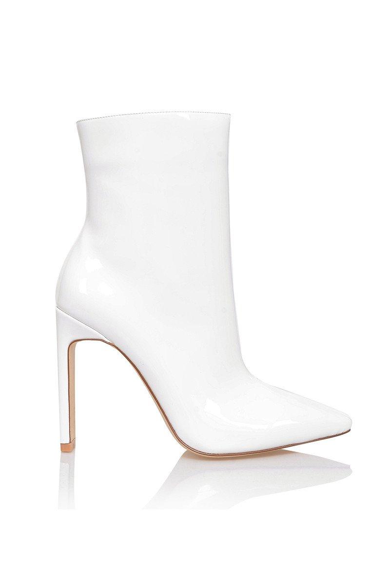 'Malachi' White Vinyl Ankle Boot - Mistress Rocks