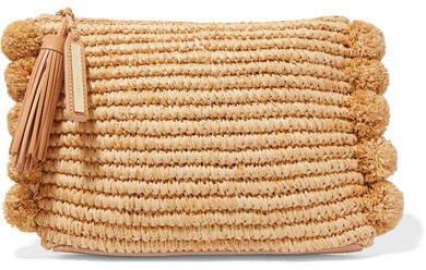 Tassel Pompom-embellished Raffia Clutch - Beige