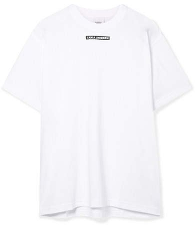 Oversized Printed Stretch-cotton Jersey T-shirt - White
