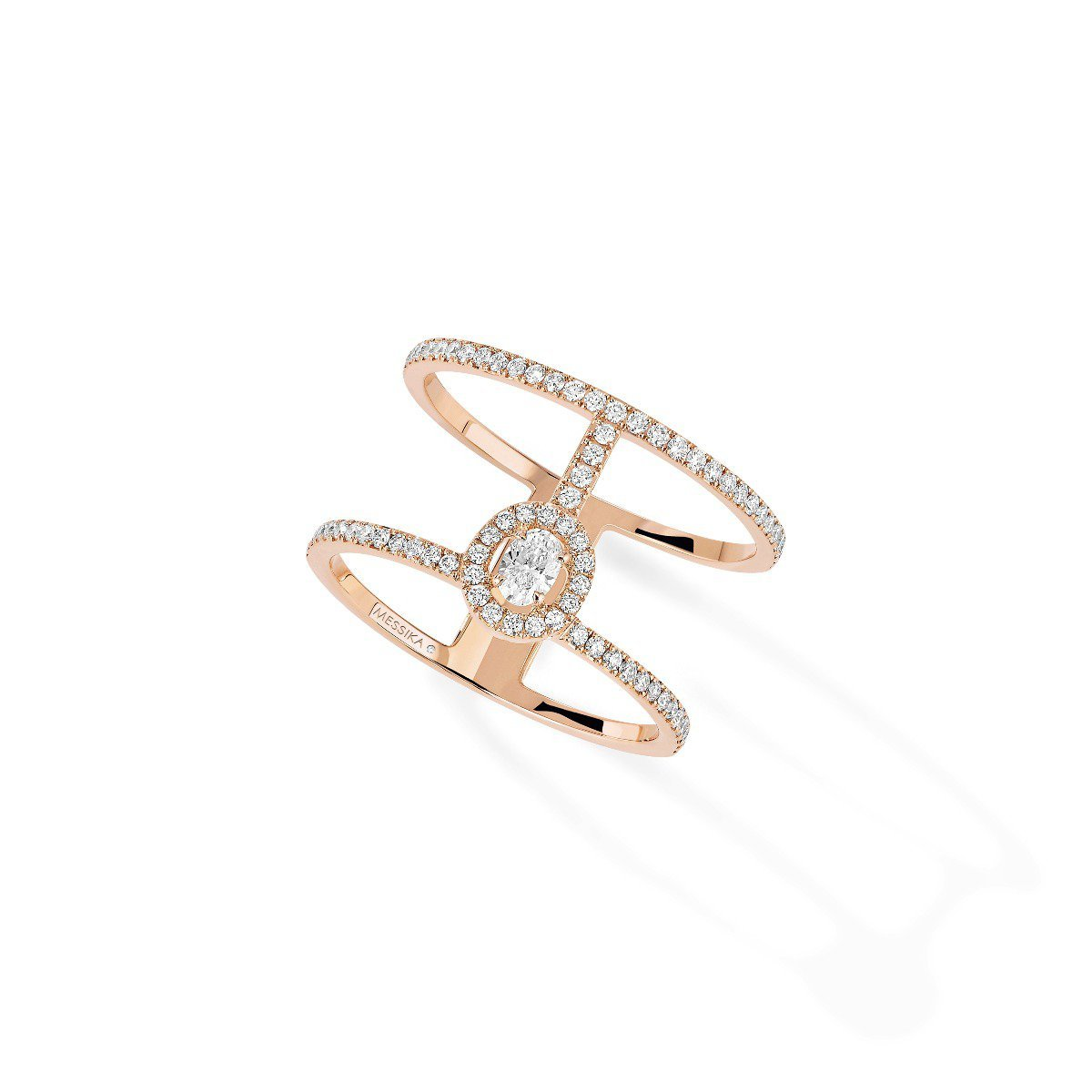 Glam'Azone 2 Rangs Pavée RING - WHITE GOLD