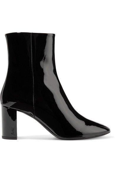 Saint Laurent | Lou patent-leather ankle boots | NET-A-PORTER.COM