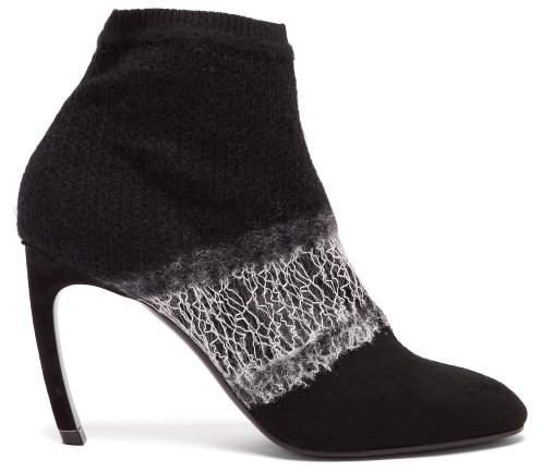 Kim Deconstructed Wool Ankle Boots - Womens - Black