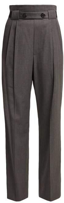 High Rise Wool Twill Trousers - Womens - Grey