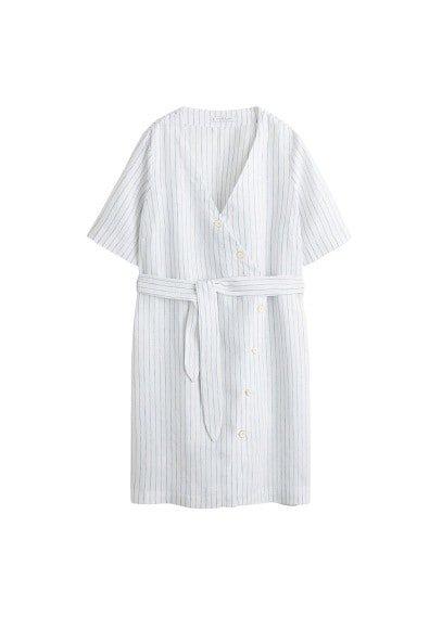 Violeta BY MANGO Linen wrap dress