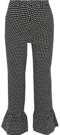 Printed Wool-crepe Kick-flare Pants