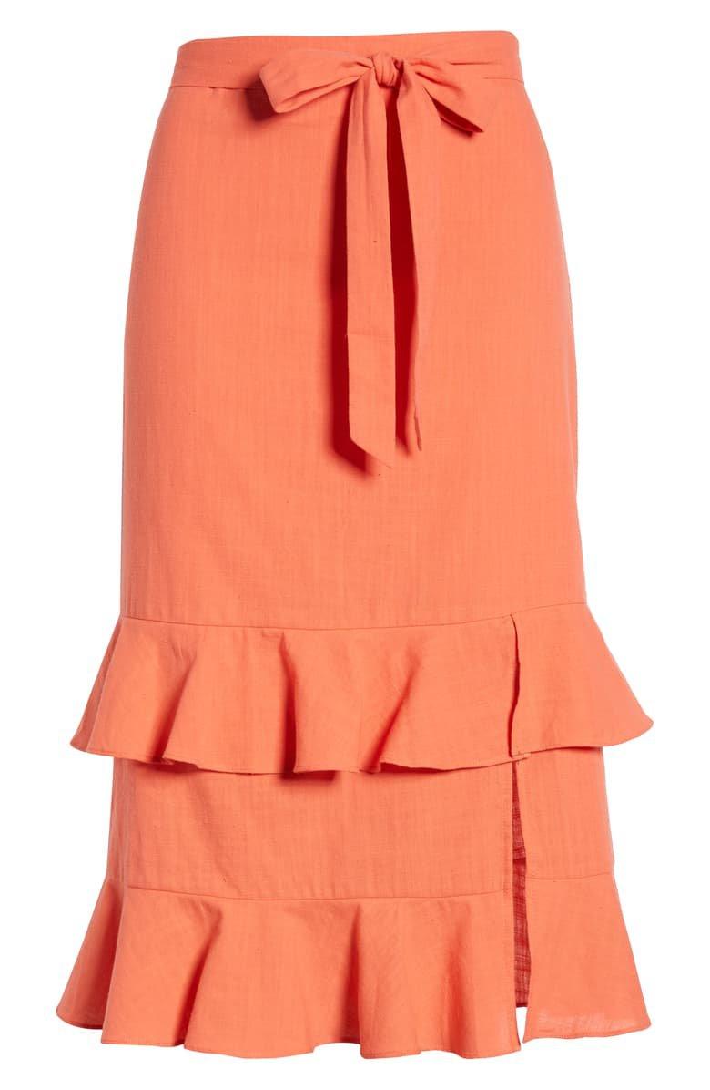 4SI3NNA Tiered Ruffle Midi Skirt orange