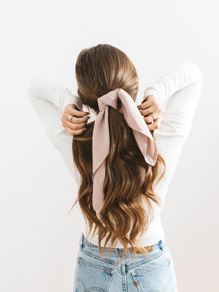 Blush Hair Scarf Ponytail