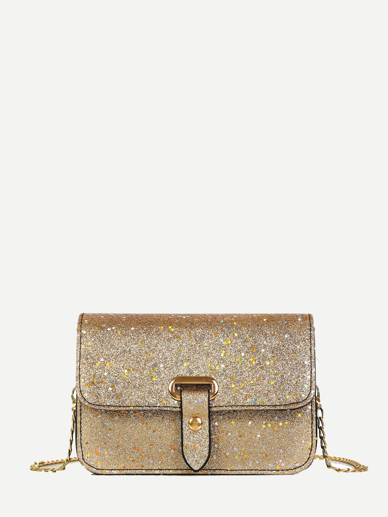 Flap Glitter Chain Bag
