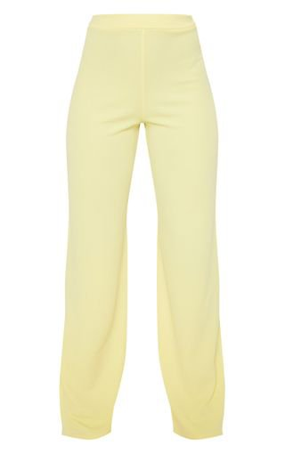 Lemon Wide Legged Trouser | Trousers | PrettyLittleThing