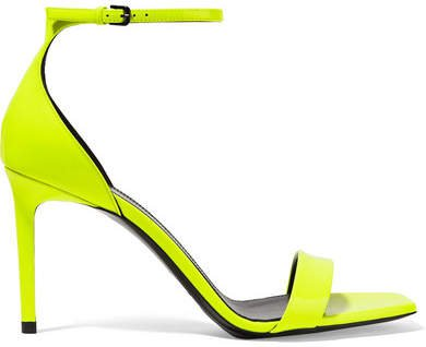 Amber Neon Patent-leather Sandals - Yellow