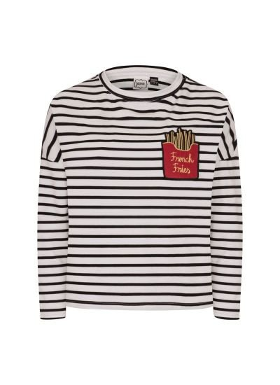 Brett   Embroidered French Fries Top in Breton Stripe   Joanie Clothing   Joanie Clothing
