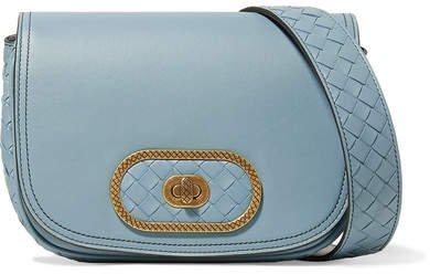 Luna Small Intrecciato Leather Shoulder Bag - Light blue