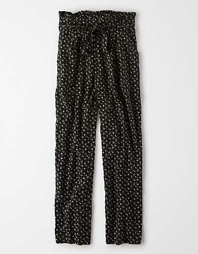 AE High-Waisted Striped Tapered Pant black